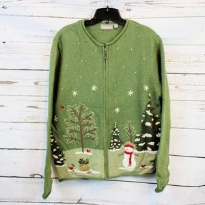 CROFT & BARROW  WINTER CHRISTMAS CARDIGAN D07